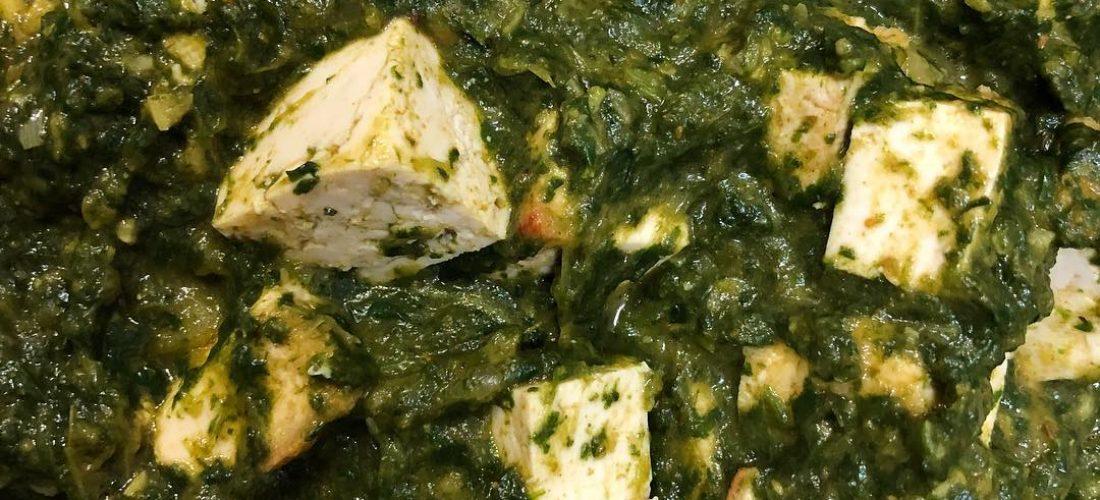 Palak Paneer sin lácteos (con tofu)